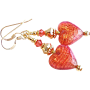 Venetian Glass Heart Earrings With 22KT. Gold Foil Accents