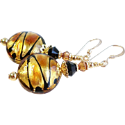 Venetian Glass Bead Earrings With Black, Gold and Copper Accents