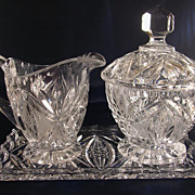 Beautiful EAPG Glass Creamer and Sugar Set 4 Pieces