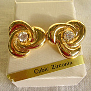 Bold Gold Tone Love Knot and CZ Earrings