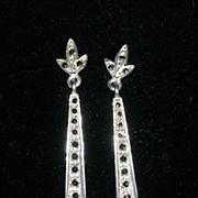 Sleek Sterling Silver and Marcasite Drop Earrings