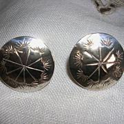 Vintage Sterling Silver Hand Stamped Disc Earrings