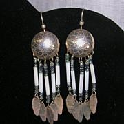 Southwestern Design Sterling Silver Stamped Disc Beaded Dangle Earrings