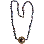 Captivating Peacock Keishi Freshwater Pearl, Amethyst and Shell Necklace