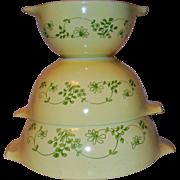 Vintage Corning Pyrex Cinderella Nesting Bowls Shenandoah Pattern