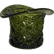 Vintage Olive Green Glass Daisy Button Hat