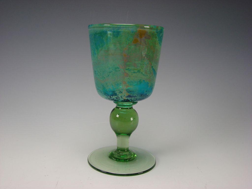 Vintage Signed Mdina Dobson Wine Glass Stem Goblet Fine Modern Harris Dobson
