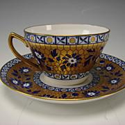 Antique Wedgwood China Cobalt Blue Gold Cup Saucer Elegant Victorian