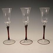 c1930 Austrian Bimini Elegant Fine Lampwork Art Glass Wine Stem
