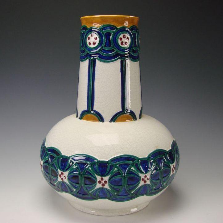 Antique Jugendstil Rorstrand Pottery Vase Dessin Alf Wallander