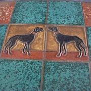 Arts Crafts Figural Dog Pottery Tile Top Table Black Labrador Mosaic Wrought Iron