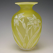 Antique Webb Citrine Engraved Cameo Glass Vase c1880