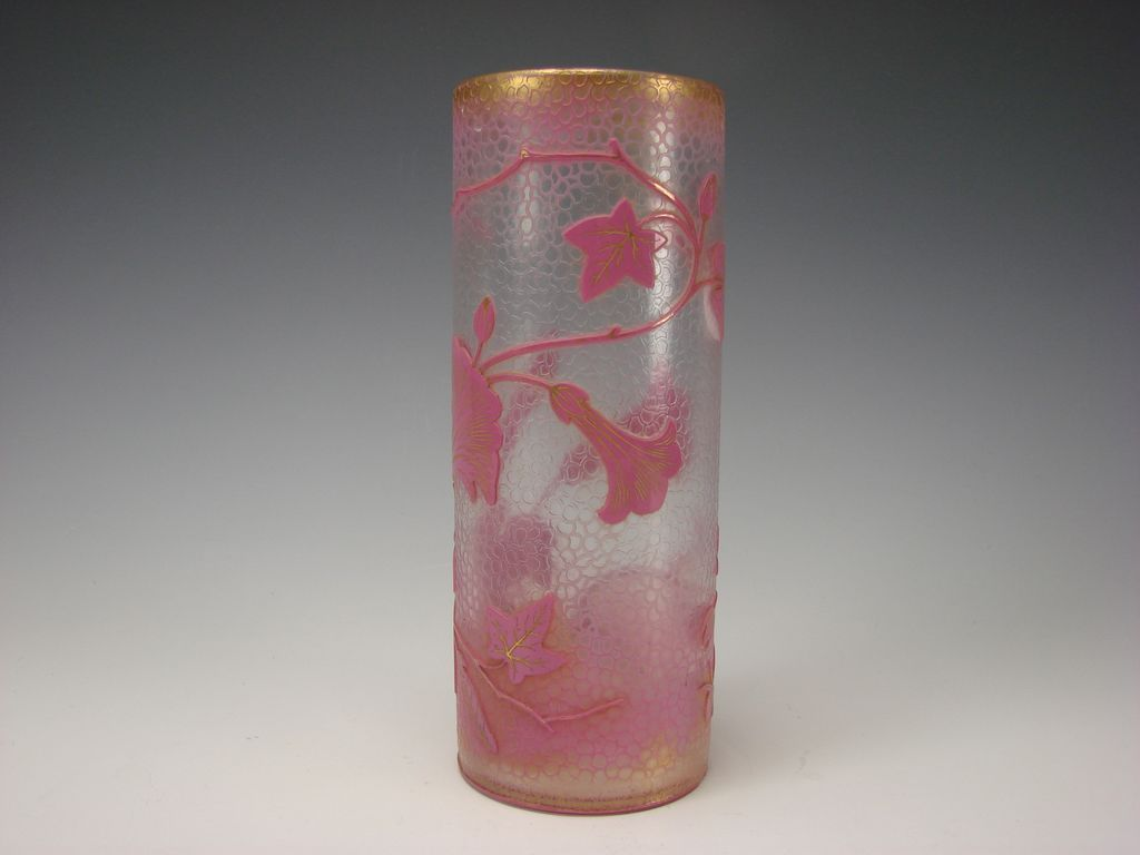 Great Art Nouveau Baccarat Pink and Gilt Cameo Glass Vase Signed Dated c1898