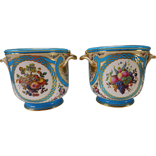 LARGE & FINEST Antique Sevres Style Porcelain Wine Coolers Ice Buckets Cupids/Cherubs Hand Painted c1840