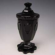 Antique Bohemian or English Deep Amethyst Glass Covered Urn Vase Pokal