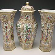 Antique French Samson Porcelain Garniture Vase & Urn SET c1875