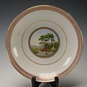 Antique Meissen German Porcelain Portrait Hand Painted Scenic Plate Bowl c1790