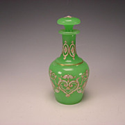 Antique French or Bohemian Green Opaline Glass Perfume Scent Bottle