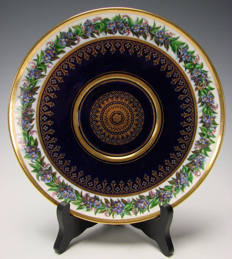Antique French Sevres Porcelain Hand Painted Porcelain Plate c1830