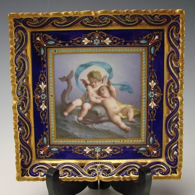 Antique Limoges French Cherub Hand Painted Jeweled Porcelain Plate Tray