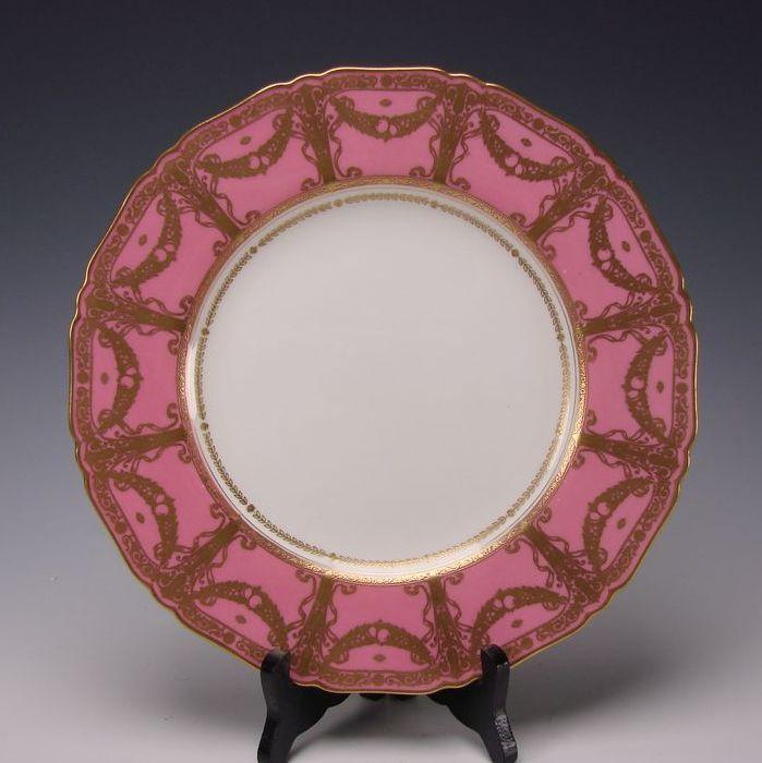 Art Nouveau Royal Worcester Porcelain China Rose Gilt Cabinet Dinner Plate s1186
