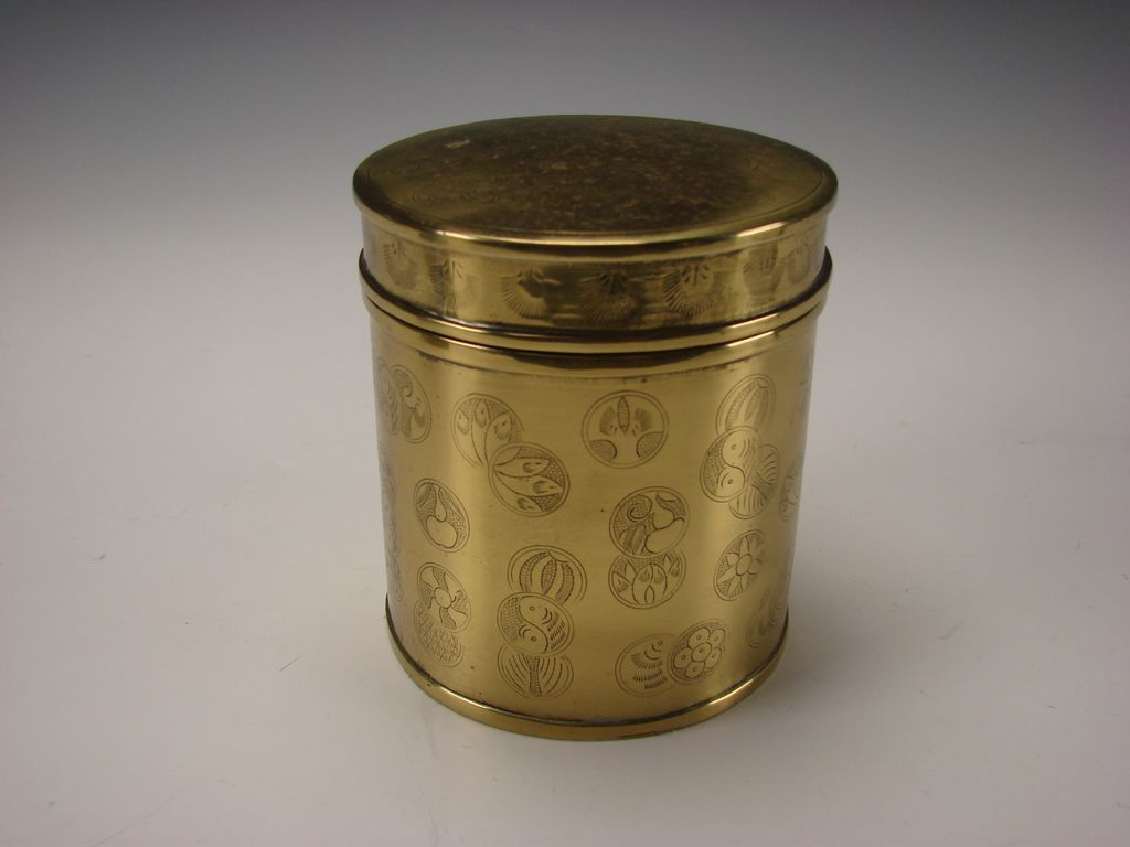 Antique Japanese Solid Brass Round Tobacco Jar Box Humidor