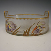 BIG Antique French Mont Joye Legras Enamel Painted Glass Basket Bowl Vase