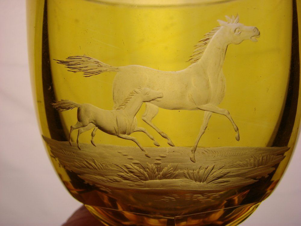 Bohemian Engraved Wine Glass Goblet Arabian Horses Cut Amber to Clear Antique c1840