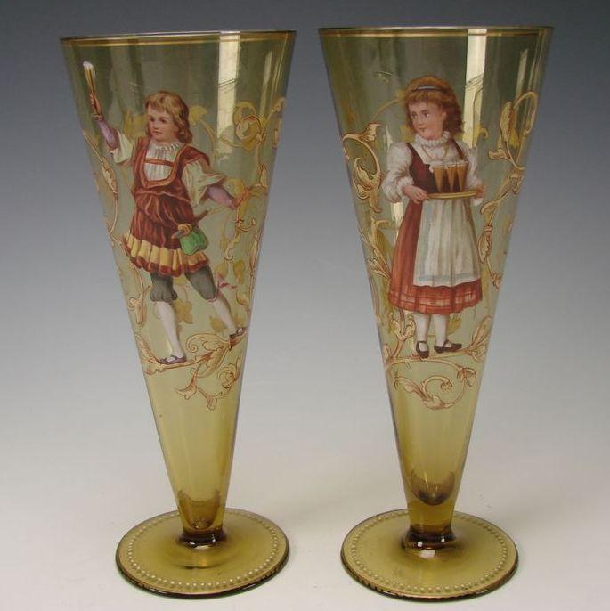 Antique Bohemian Egermann Enameled Amber Glass Beer Stem Tumblers