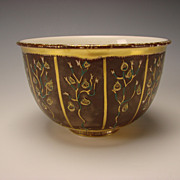 Vintage Fine Modern Sevres Porcelain Gilt China Bowl Vase Signed Dated c1948