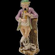 Antique Meissen German Flutist Man and Dog 18c Porcelain Figurine Group