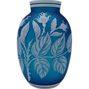 Antique Webb English Cameo Prussian Blue Carved Cameo Glass Vase