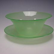 Antique Stevens Williams Jade Green Stourbridge Glass Dessert Bowl Plate