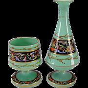 Antique Bohemian or French Green Opaline Enamel Glass Vase Decanter Bowl 19c