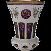 Antique c1900 Cased Hand Painted White on Amethyst Glass Beaker Vase