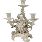 Antique KPM German Ornate Blanc de Chine Cherub Foliage Candleabra