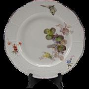 Antique German Meissen Porcelain Hand Painted Plate Basketweave Border c1875