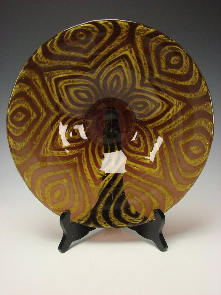 Vintage Moser Bohemian Signed Art Glass Vase Plaque Center Bowl