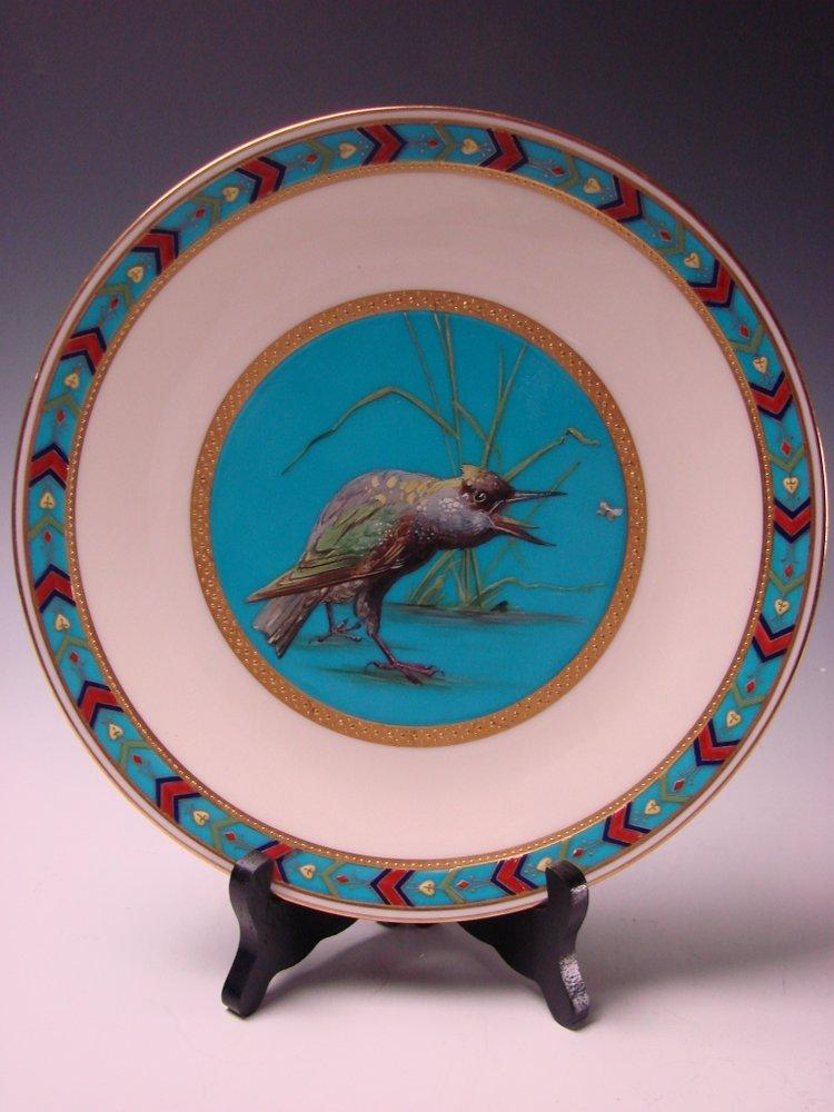 Antique Minton Cloisonne Porcelain Blackbird Crow Hand Painted Enamel Plate c1870