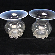 Antique Venetian Murano Salviati/Barovier Iridescent Opaline Rim Glass Vase Pair