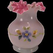 Antique Stevens & Williams Coralene Cased Glass Victorian Ruffled Vase Bristol