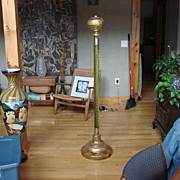 Antique Moser Bohemian Glass Floor Oil Lamp Persian Enameled