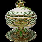 Antique Ginori/Doccia Porcelain Egyptian Pharoah's Memories Compote Tureen Lidded Vase Italian China
