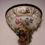 Antique German Porcelain Foo Dog Bracket Wall Shelf BIG c1810