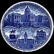 """Blue & White Rowland & Marsellus Souvenir Plate """"Harrisburg"""""""