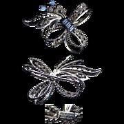 Classy Sterling & Blue & Clear Rhinestone Pin / Brooch