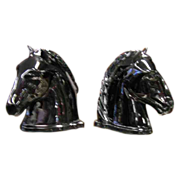 Black Abington Pottery Horse Head Bookends