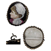 circa 1890's Large Antique Lady Portrait Brooch