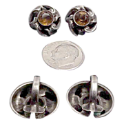 Danish Sterling Silver Earrings with Amber Stones