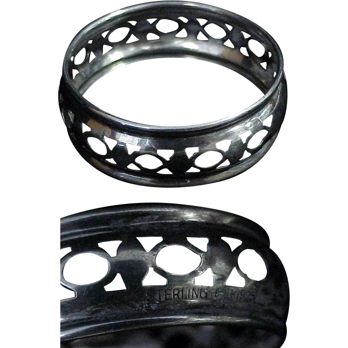 Sterling Silver Napkin Ring with Pierced Design
